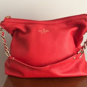 ♠️ Kate Spade ♠️ red leather gold chain bag purse
